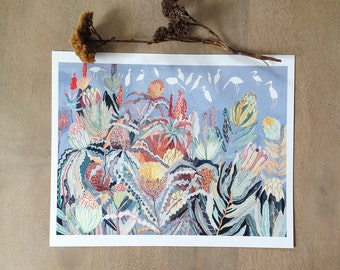 Protea and Herons- Archival Print