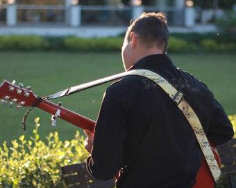 Handmade Folk Guitar Strap Music Teacher Gift Vintage Music Notes Strap For Music Lover Antique Aged Music Notes Hippie Guitar Strap for Men