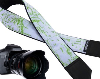 Personalized Camera Strap with world map design DSLR and SLR Padded Camera Strap. Camera accessories. Light green blue Camera Strap