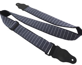 Grey guitar strap with white stripes. Gentlemen style. Ideal present for musician, guitarist. Elegant music instrument accessory.