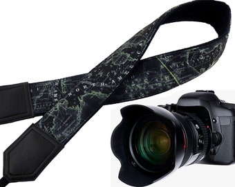 Personalized World Map Camera strap. Black and light lime map neck camera strap. North America, Europe and Asia. Birthday gift.