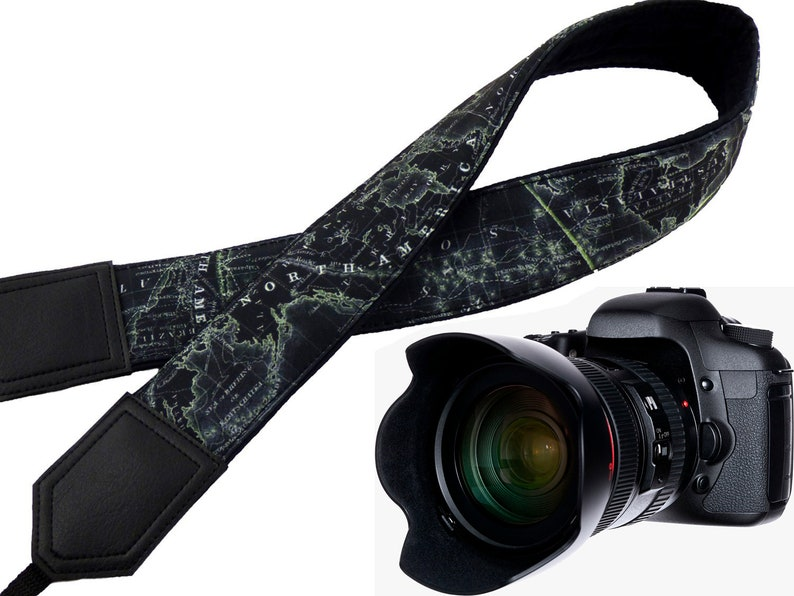 Personalized World Map Camera strap. Black and light lime neck image 0