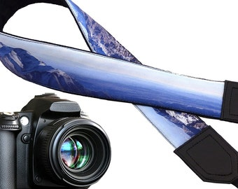 Mountain Camera Strap. Landscape camera strap. Black and blue DSLR / SLRCamera Strap. Camera accessories. Photographer gift by InTePro