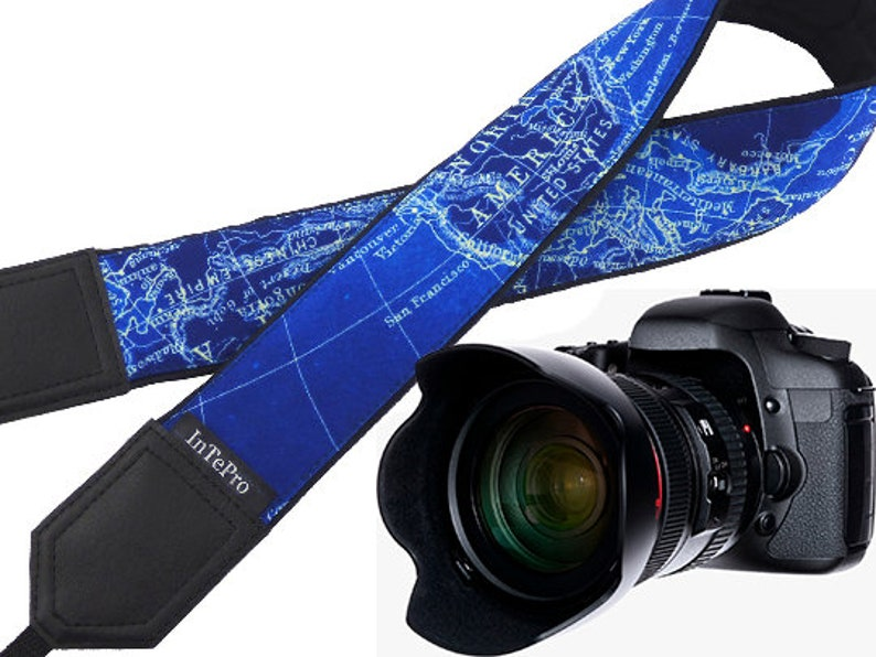 InTePro Camera Strap with Vintage Blue map design. Padded image 0