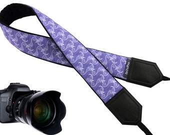 Personalized camera strap with Seahorses. DSLR and SLR Camera Strap. Padded camera strap. Photographer accessory by InTePro