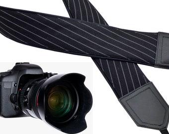 Black camera strap with white stripes. Mens camera strap. DSLR & SLR  camera strap. Men's gifts by InTePro