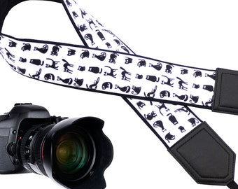 Lucky black cat design camera strap for animal lovers suitable for all professional and normal camera users.