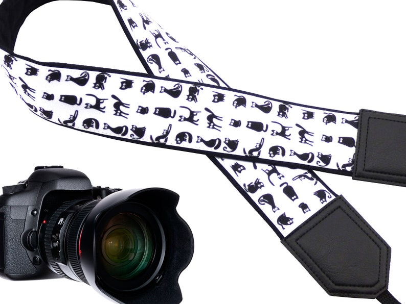 Black cat design camera strap Best gift for travelers and Camera Strap