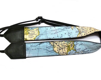 Personalized camera strap. Wonderful world map camera strap for world travelers. Great Christmas gift.