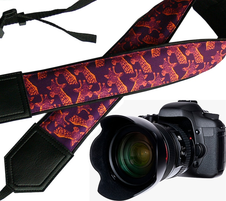 Personalized camera strap with giraffe design. DSLR / SLR image 0