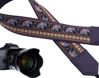 Lucky Elephants dark Purple and blue color ethnic design camera strap suitable for all professional and normal camera straps.