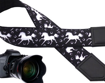 Eye catchy white horse camera strap designed for adventures people which is suitable for all professional and normal cameras.