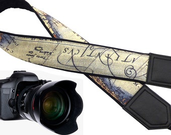DSLR Camera Strap. Vintage Camera Strap. World Map Camera Strap. Camera accessories. Photographer gift.
