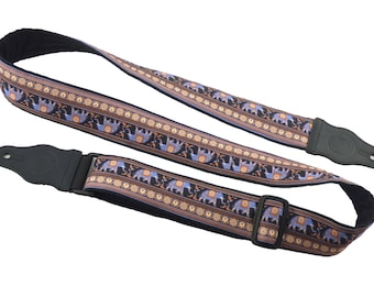 Guitar Strap with elephants. Lucky elephants for guitarists. Guitar Accessory for Acoustic, Electric, Bass & other guitars. Instrument strap