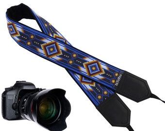 DSLR / SLR camera strap with blue native design. Beads design. American native motives.