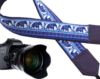 Ethnic Lucky Elephant classic designer camera strap for Nikon/Canon/Fuji film/DSLR etc available in attractive colors.