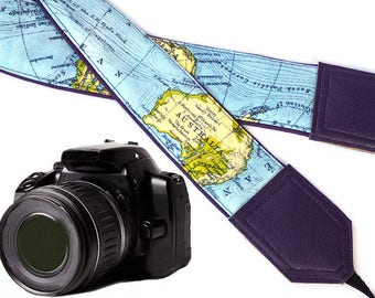 Wonderful world map camera strap for world travelers designed for all professional and normal cameras.