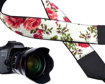 Red rose camera strap designed for flower lovers suitable for all professional and other standard cameras users.