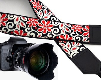 Camera strap with flowers. Red and white floral Camera strap. Gift for mom. Padded camera strap for DSLR & SLR cameras by InTePro