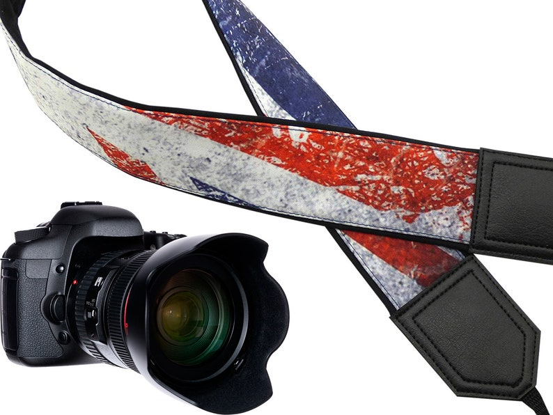 InTePro Camera strap with Vintage UK flag. Great Britain image 0