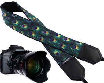 InTePro personalized camera strap for mirroless or DSLR cameras. Peacock design, padded and durable accessory for photographers. Great gift.