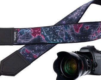 Classy night view world map design camera strap suitable for all professional and normal cameras.