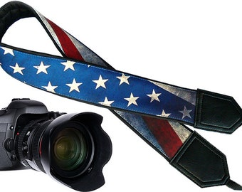 Vintage American Flag design camera strap for Nikon/Canon/Samsung/Fuji film and other standard cameras available in attractive designs.