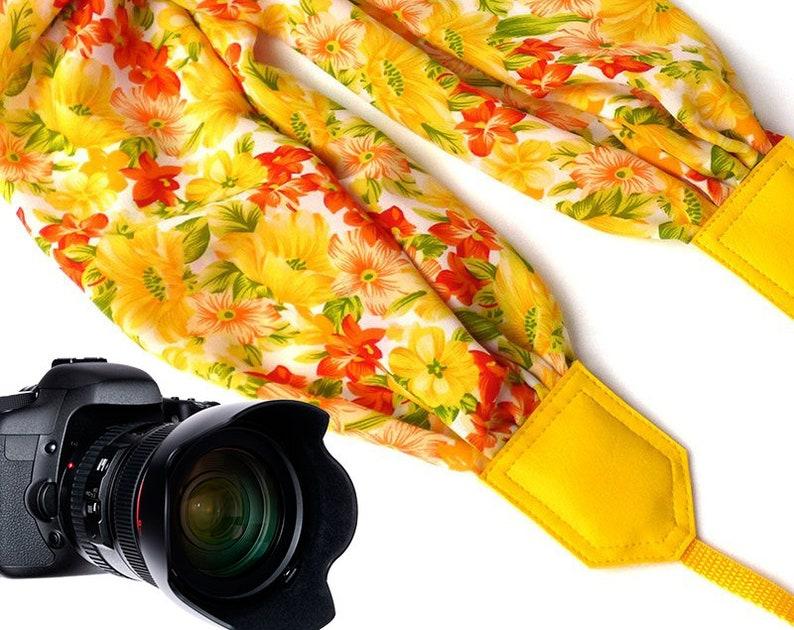 Christmas Gift Scarf Camera Strap Yellow Floral Camera Strap Camera Strap Photographer Gift Travel Gifts DSLR Camera Strap