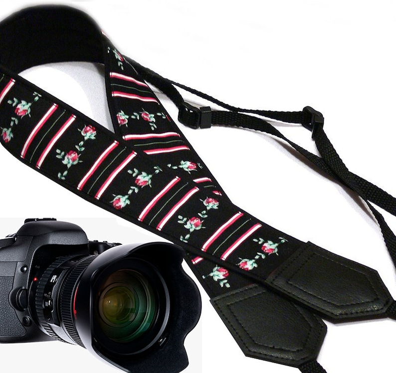 Flowers Camera strap.  Roses camera strap with stripes.  DSLR image 0