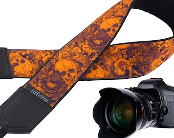 Iconic Orange sugar skulls camera strap available for DSLR/SLR/Nikon/Fuji film etc especially designed for creative souls.