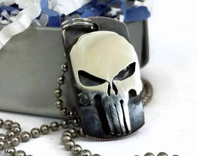 Punisher Skull Dog Tag Cut Coin Pendant Necklace