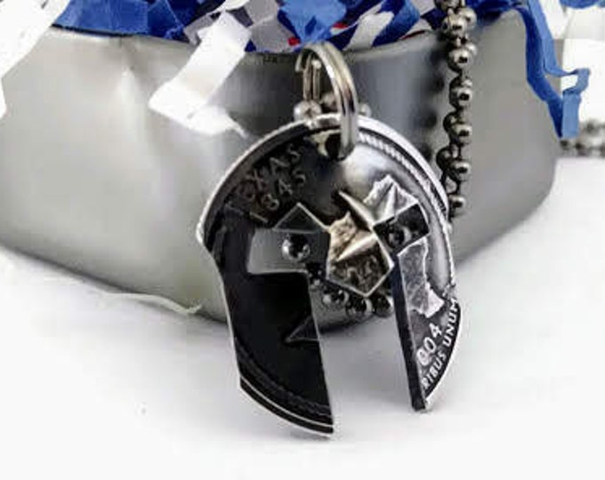 Silver Texas Spartan Helmet Cut Coin Pendant Necklace