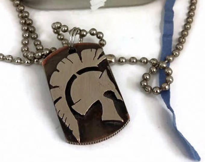 Spartan Helmet Dog Tag Cut Coin Pendant Necklace