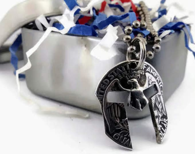 Silver Spartan Helmet Cut Coin Pendant Necklace