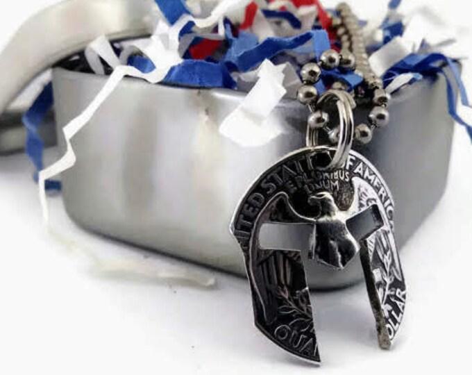 Silver Spartan Helmet Cut Coin Pendant Necklace
