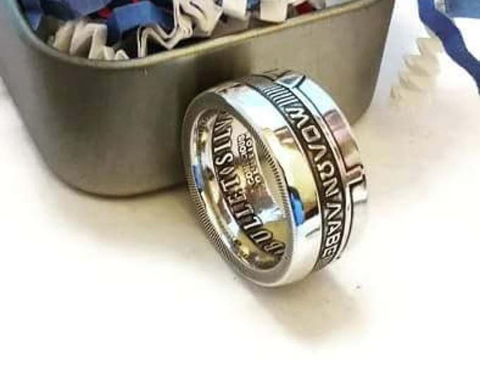 Molon Labe AG-47 Come and Take Them Coin Ring