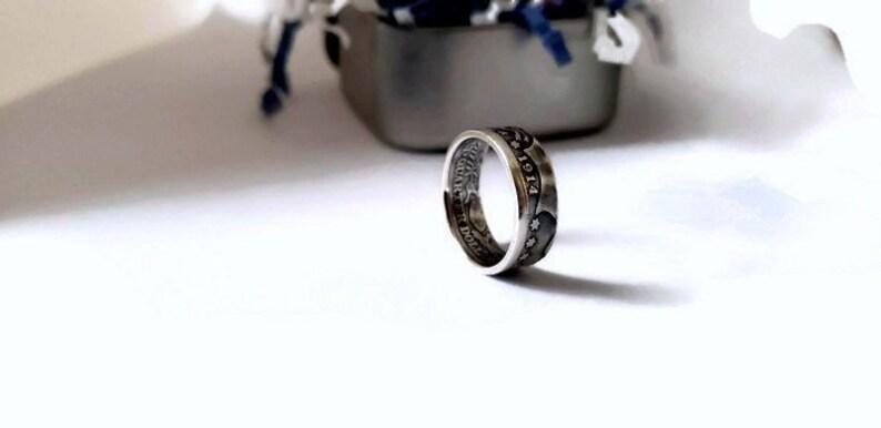 90% Silver Barber Quarter Coin Ring Silver Coin Ring Wedding image 0