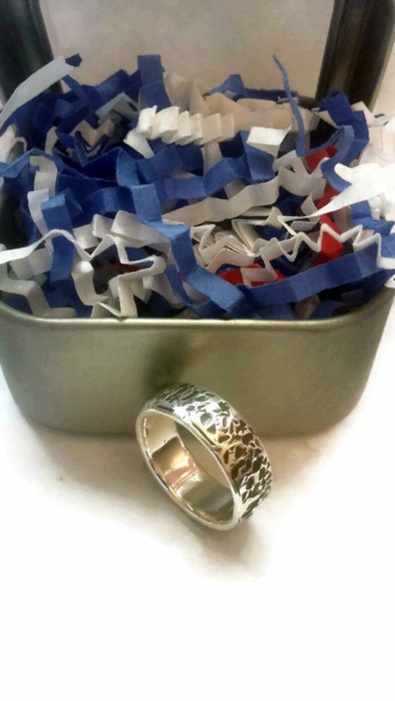 Punch Out Coin Ring .999 Fine Silver With A Textured Finish image 0
