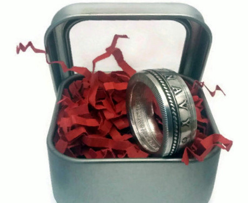 Navy .999 Fine Silver Coin Ring image 0