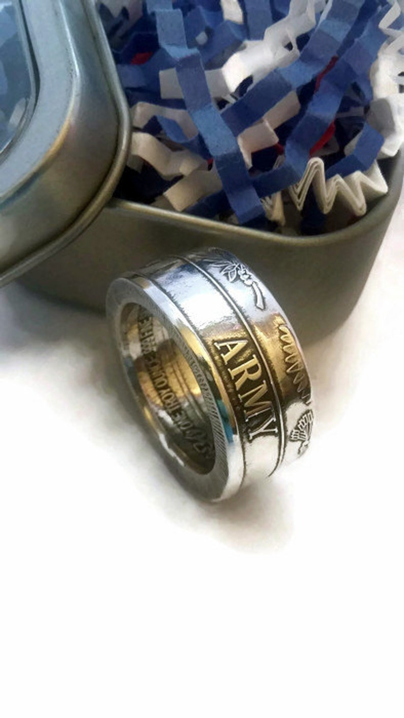 Army 999 Fine Silver Coin Ring image 0