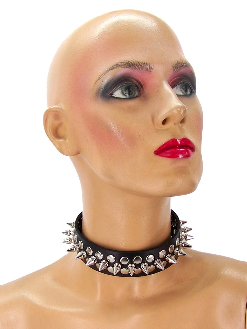 12 Metal Punk Spiked Leather Choker