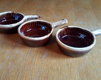 3 Brown Drip Pattern McCoy/Lancaster Colony Individual Casserole Crocks