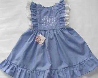 Monogram Dress, Pinafore dress toddler, easter dress girls, girls ruffle dress, Girls Dress, Toddler dress, Pinafore dress, Easter Dress, 3T