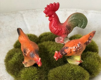 Three Piece Mini Ceramic Rooster and Hens