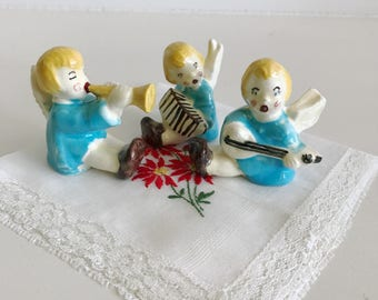 Sweet Colorful Vintage Christmas Angel Trio with Instruments