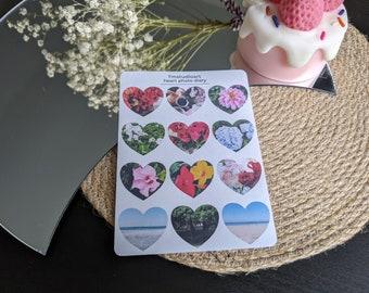 Heart Photo Diary Sticker Sheet - Planner Stickers - Stationery Sticker Sheet - Basic Stickers