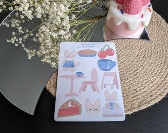 Tea and Treats Sticker Sheet - Planner Stickers - Stationery Sticker Sheet - Borderless Stickers
