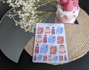 Drinks Sticker Sheet - Planner Stickers - Stationery Sticker Sheet - Food Stickers - Kawaii Stickers