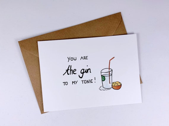 gift - long distance relationship -i miss you -ldr - funny love card - you are the Gin to my tonic- best friends - boyfriend - girlfriend