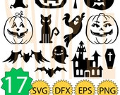 SALE Pumpkin PACK 17 Halloween 2 Witch, Bat, Cat, Ghost SVG ,Dxf, eps, png monogram clip-art pack vector files.